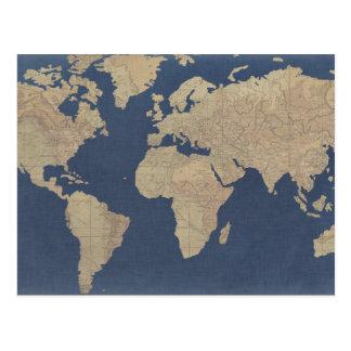 Postal Oro y mapa del mundo azul
