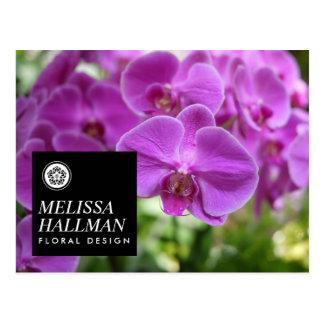 Postal Orquídeas brillantes del logotipo floral moderno I