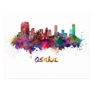 Postal Osaka skyline in watercolor