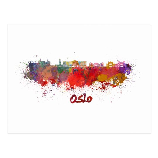 Postal Oslo skyline in watercolor