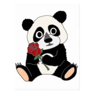 Postal Oso de panda lindo que sostiene el rosa rojo