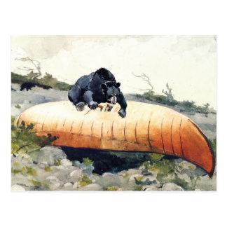 Postal Oso y canoa de Winslow Homer