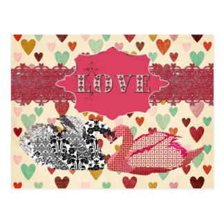 Postal ostentosa de los corazones del amor de los