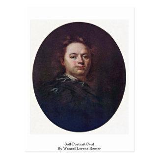 Postal Óvalo del autorretrato de Wenzel Lorenz Reiner
