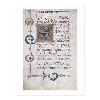 "Postal Página del ms 564 f.13v con ""S inicial"