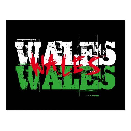 Postal País de Gales - colores de la bandera Galés