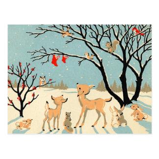 Postal País de las maravillas del invierno del vintage