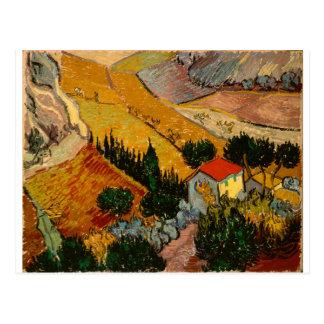 Postal Paisaje con la casa y el labrador, Vincent van