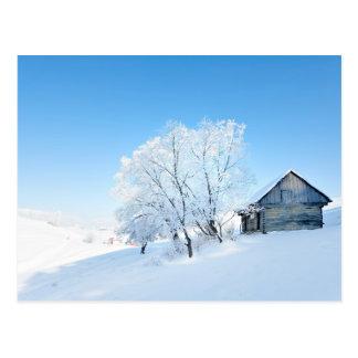 Postal Paisaje de la cabina del invierno