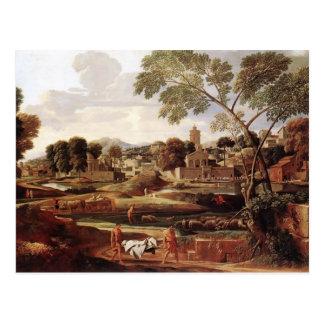 Postal Paisaje de Nicolás Poussin- con el entierro de