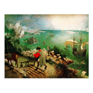 Postal Paisaje de Pieter Bruegel con la caída de Ícaro
