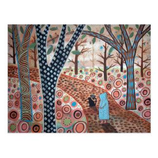 Postal Paisaje del jardín del bosque