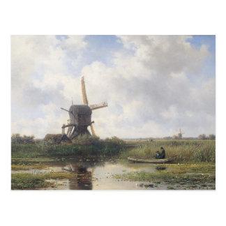 Postal Paisaje del molino de viento - Willem Roelofs