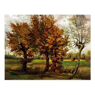 Postal Paisaje del otoño con cuatro árboles de Van Gogh