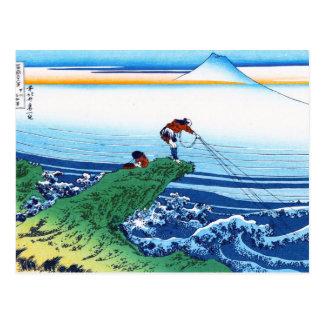 Postal Paisaje oriental fresco de la opinión de Hokusai