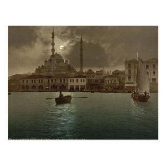 Postal Paisaje urbano de Estambul del vintage con la luz