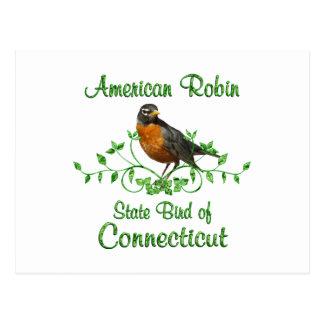 Postal Pájaro de Connecticut del petirrojo
