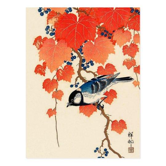 Postal Pájaro de Jay del japonés del vintage y vid del