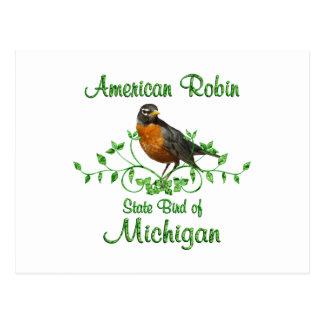 Postal Pájaro de Michigan del petirrojo