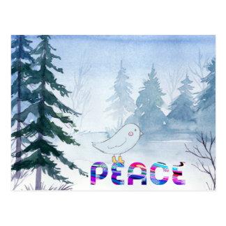 Postal Pájaro lindo que se sienta en paz en invierno