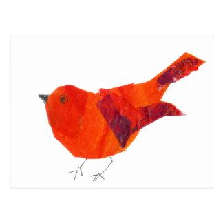 Postal Pájaro rojo artístico único animal de la fauna