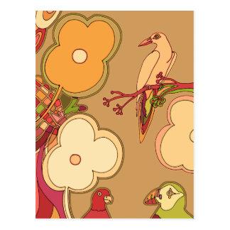 Postal Pájaros caprichosos (cualquier color que usted