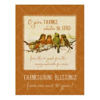 Postal Pájaros de la escritura de la acción de gracias -