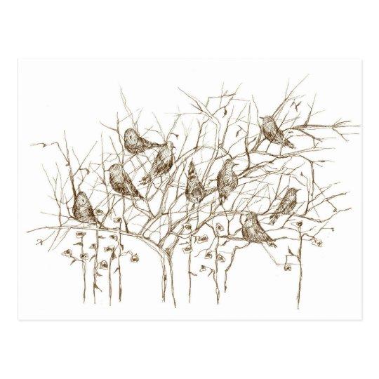 Postal Pájaros en bosquejo de la pluma y de la tinta de