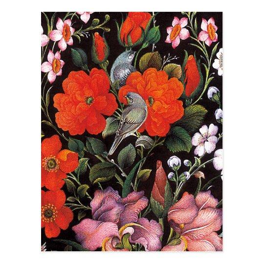 Postal Pájaros en flores rojas arte oriental elegante