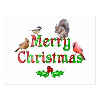 Postal Pájaros y ardilla de las Felices Navidad