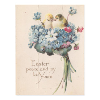 Postal Pájaros y flores adorables de Pascua del vintage