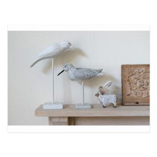 Postal Pájaros y ovejas de madera del abedul