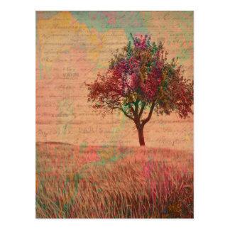 Postal Palabras abstractas del prado del árbol de los
