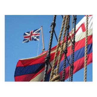 Postal Palos de la nave en Jamestowne histórico