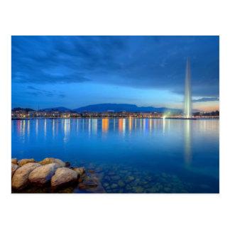 Postal Panorama de Ginebra con la fuente famosa, Suiza,