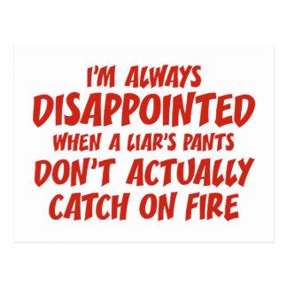 Postal Pantalones del mentiroso del mentiroso en el fuego