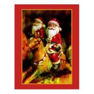 Postal Papá Noel en el carrusel