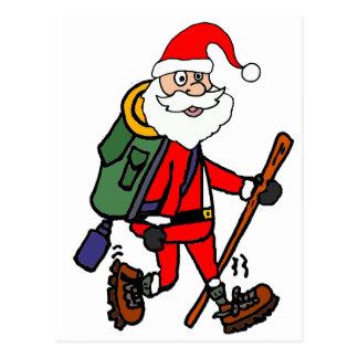 Postal Papá Noel lindo que camina el dibujo animado del