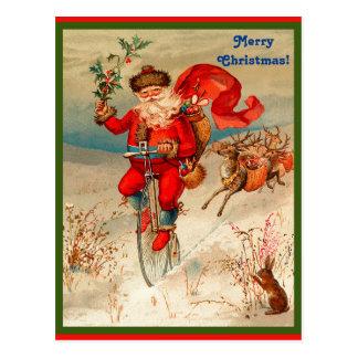 Postal Papá Noel raro en el velocípedo perseguidor por el