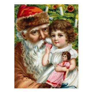 "Postal ""Papá Noel y niña """