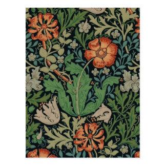 Postal Papel pintado floral Morris de moda Compton del