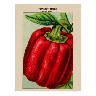 Postal Paprika Rojo francés del vintage Piment