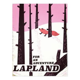 Postal Para un poster del vintage de Laponia de la