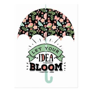 Postal Paraguas de la floración de la idea