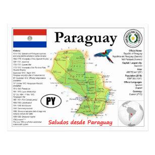 Postal Paraguay Map Postcard