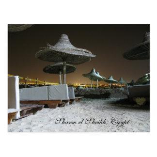 Postal Parasoles en la noche en Sharm el Sheikh, Egipto