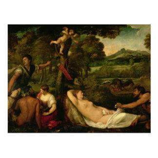 Postal Pardo Venus o Júpiter y Antiope
