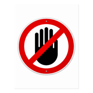 Postal Pare el símbolo de la mano