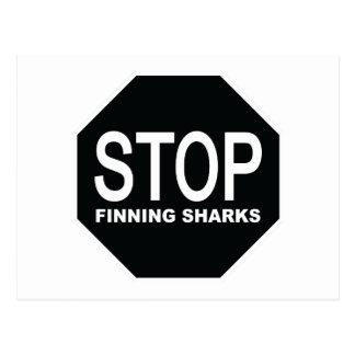Postal Pare la muestra de los tiburones de Finning