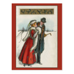 Postal pares románticos del Victorian del vintage